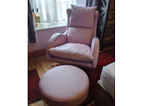 Fama Lenny swivel recliner chair with footstool - dusky pink/lilac leather