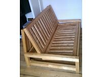 Double bed / futon solid birch frame