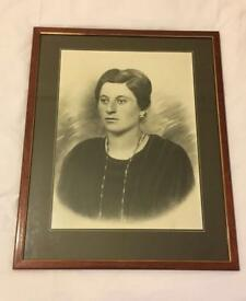 Vintage Black And White Photo Of Old Women Picture Framed