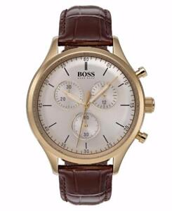 Hugo Boss Men's Champagne Dial Brown Leather Steel Watch 1513545