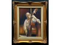 Contemporary, British: A Double Bass Jazz Musician Oil Portrait Painting