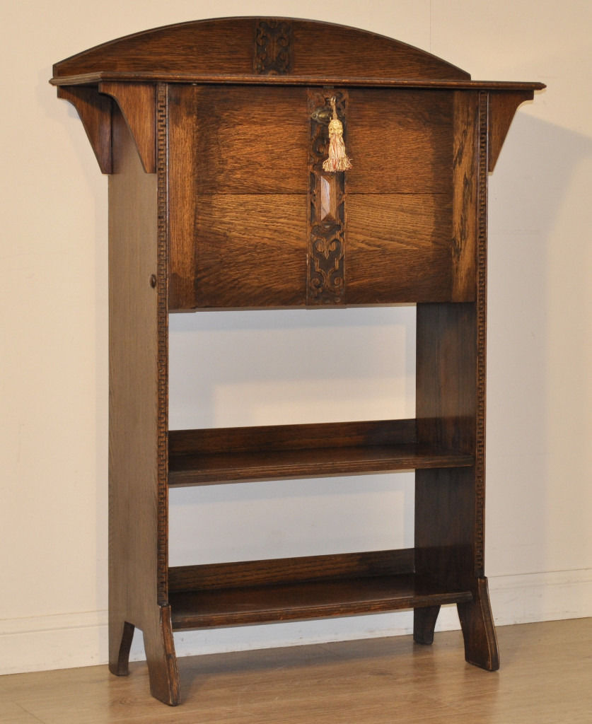 Arts and crafts bureau - Antique Edwardian Harris Lebus Arts Crafts Oak Bureau Bookcase Students Desk