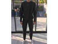 Leather bike jacket and trousers