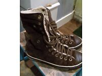 Converse All Star Chucks X-Hi dark brown suede boots with fleecy lining, UK 6 / 39