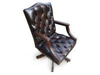 Brown Leather Gainsborough Chesterfield Desk Office Swivel Captains Chair