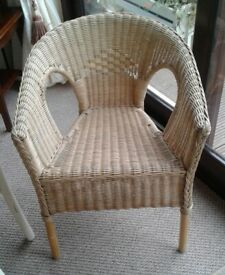 Wicker and bamboo tub chair