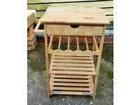 Wooden Kitchen Trolley Cart NO WHEELS Butchers Block 1 Drawer 3 shelves
