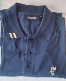 ASHWORTH Polo Shirt Navy Dark Blue Long Sleeve Golf