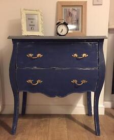Very elegant fully refurbished French style chest of drawers in Admiral blue finish