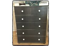 Chest Of 2 Over 4 Drawers Hand Painted in ANNIE SLOAN Graphite Chalk Paint