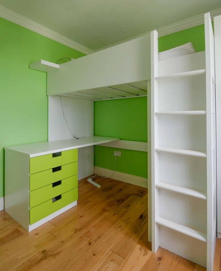 IKEA Stuva Cabin Bed / Wardrobe / Desk GREEN. No mattress ...