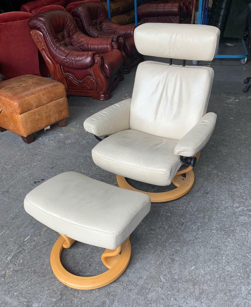 Ekornes Stressless Cream Leather Chair Stool Recliner Uk Delivery In Aston West Midlands Gumtree