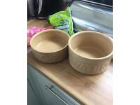 Set of food and water bowls