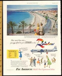 1952 full-page magazine ad for Pan Am Airlines