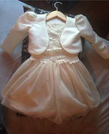 Ll gorgeous girls ivory dress & jacket age 3/4: