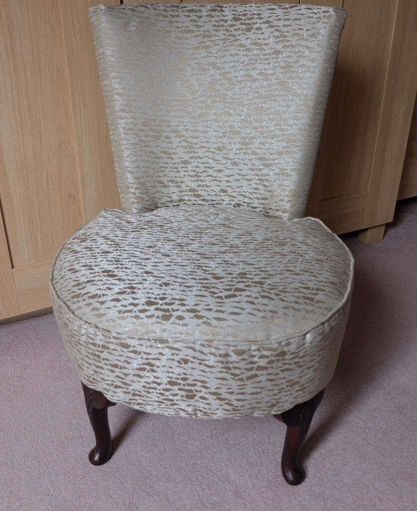 Small bedroom chair newly recovered in a silver/gold designer fabric