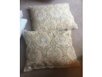 Pair of Vintage Indian Embroidered Cream Cushions
