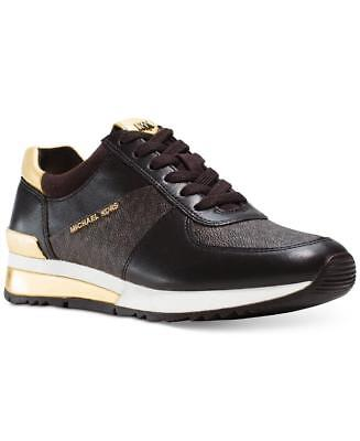 Michael Kors Mk Womens Allie Trainer Leather Sneakers Shoes Brown