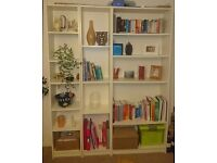Tall white shelving units/bookcases