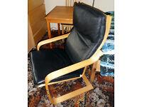 POÄNG armchair - black leather