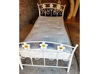 Metal single bed with flowers & mattress