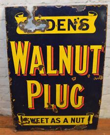 Ogdens Walnut plug smoking enamel sign advertising mancave garage metal vintage kitchen antique pub