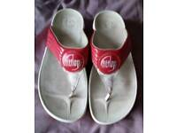 Women's Red and White Fitflops