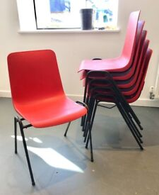 6 Stackable Plastic Chairs