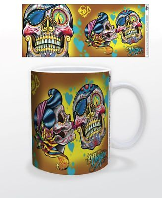 SKULL KISS LARGE HEAD 11 OZ COFFEE MUG TEA CUP DEATH MORTALITY COOL DECOR BONES!