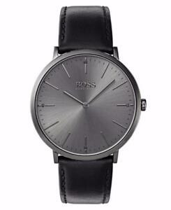 Hugo Boss Men's Black Leather Strap Stainless Steel Watch 1513540