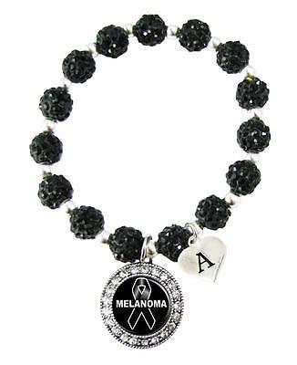 Custom Melanoma Awareness Black Bling Bracelet Jewelry Choose Initial Family