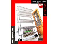 CHROME SHELVING GARAGE SHOP ORGANISE CATERING STORAGE HEAVY DUTY 362 KG PER SHELF FOOD SAFE A1 🔝