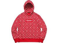 Lv x supreme unisex hoodie in red S/M