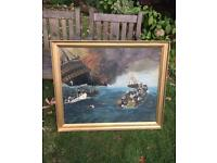 Large Antique Oil Painting Seascape Galleon On Fire