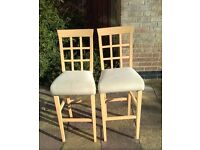 x2 Breakfast Bar Chairs / Stools in Ash wood with Cream Fabric Seats. Good condition, quick sale!