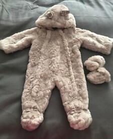 Ted Baker fur snow / pram suit - 6/9m