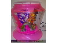 Large fish bowl (17 Litre), 4x plants, 1x ornamental bridge, gravel, internal filter and food