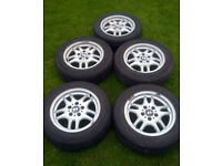 """Genuine OEM x5 BMW Style 30 16"""" 5x120 Alloy Wheels With Excellent 205/60/16 Winter Tyres"""