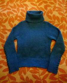 Voodoo Dolls blue knitted roll neck jumper size 10