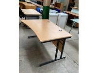 OAK WAVE OFFICE COMPUTER DESK,CANTILEVER LEGS ,140 x 100 CM, LEFT HANDED
