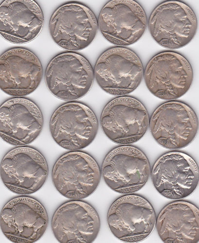 MIXED LOT OF BUFFALO NICKELS 20 CT. IN VF-AU COINS