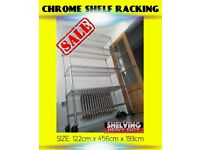 NEW HEAVY DUTY CHROME SHELVING STORAGE KITCHEN CATERING SHOP FITTING DISPLAY SHELF RACKING RACK