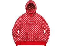 Lv x Supreme hoodie red