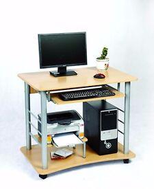 Zyon PC Desk w/ Keyboard Shelf - Pine effect w/ Wheels (Desk Only)