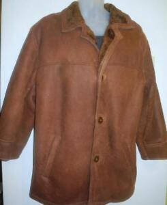 Mans 100% Sheepskin Shearling Coat VERY SHORT ARMS Fits 42 L 42S  Argentina Jacket Winter Warm Brown