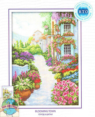 Cross Stitch Kit   Rto European Blooming Town Floral Houses Flower Path  M249