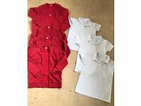Girls red uniform cardigans and white polo shirts