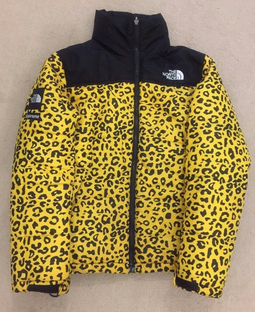Supreme x North Face Nuptse Jacket Yellow Leopard Print Size S