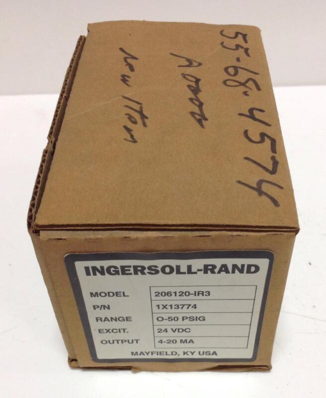INGERSOLL-RAND 0-50PSIG 24VDC 4-20mA PRESSURE TRANSMITTER 1X13774 206120-IR3 NIB