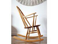 Vintage Retro Ercol Rocking Chair Mid Century Refurbished